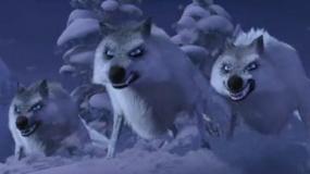 《冰雪奇缘》中文片段 恶狼追击公主飞跃悬崖