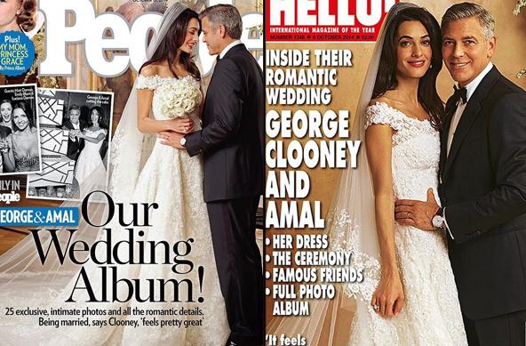 乔治·克鲁尼夫妇婚纱照首曝光 画面唯美甜蜜相依