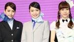 AKB48来台扮空姐 不慎踩空险摔下楼梯