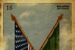 《边境杀手》抽象海报 艾米莉·布朗特持枪显干练