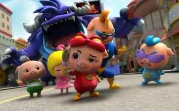 《猪猪侠之终极决战》片段 变身战队天空翱翔