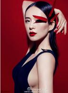 章子怡登杂志封面红唇惹眼 破尺度露酥胸秀美背