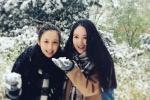佟丽娅挺孕肚与董璇打雪仗 二人合影似双胞胎