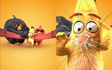 《愤怒的小鸟》动态海报 飞镖黄玩弹弓撞碎屏
