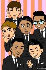 黄渤发博为《极限挑战》庆生 卡通六兄弟表情逗趣