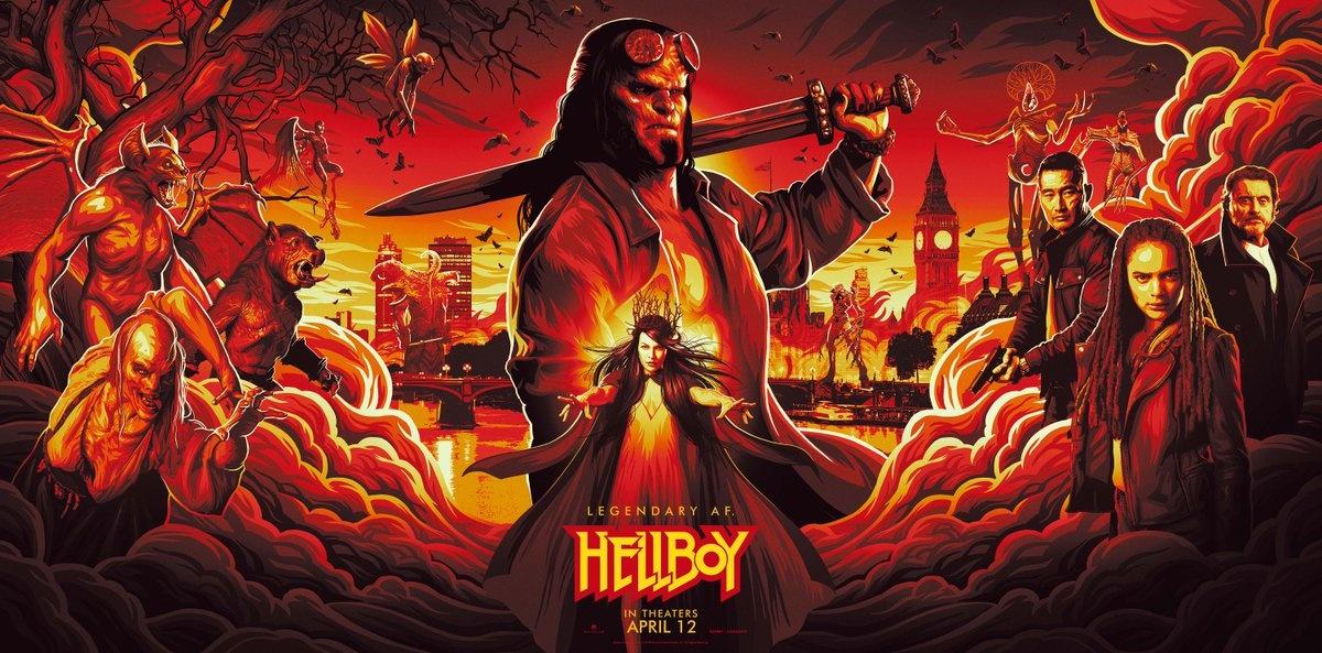《地狱男爵:血皇后崛起》海报 手绘风格怪物环绕
