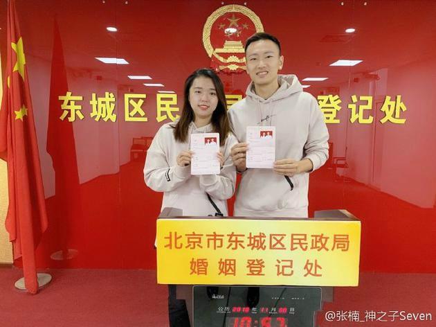 奥运冠军张楠晒与田卿结婚登记照:风雪