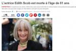 法國老牌女演員愛迪絲·斯考博離世 享年81歲