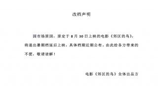 黄璐李淳主演《郊区的鸟》退出暑期档:因市场原因