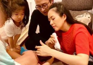 章子怡为儿子剃头汪峰醒醒围观 网友:发际线高了