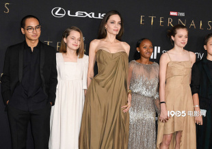 朱莉携五子女炸场《永恒族》首映 高贵典雅气质绝