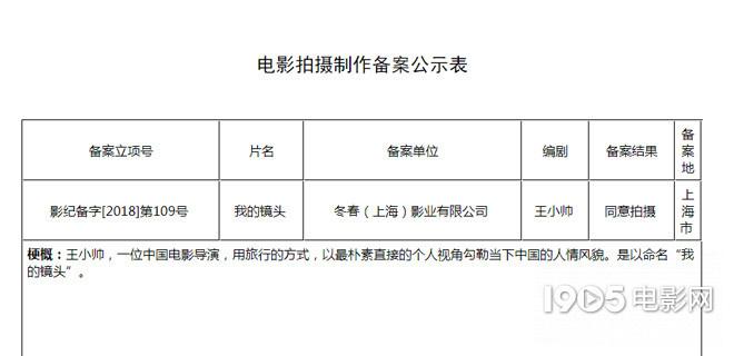 導演王小帥新片立項 將拍攝紀錄片《我的鏡頭》