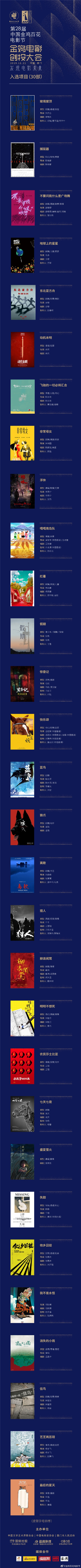 官方公布!金鸡电影创投大会入围项目30强名单