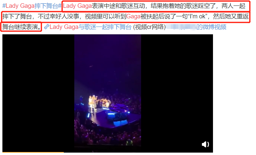 LadyGaga演唱会与男粉激烈互动,两人双双跌落舞台真悲催