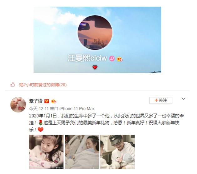 章子怡官宣二胎生子 汪峰大女兒小蘋果點贊表祝福