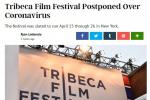 受疫情影响,第19届翠贝卡电影节宣布将延期举办