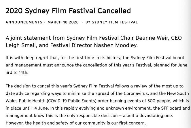 澳大利亚关闭全国电影院 悉尼电影节已宣布取消