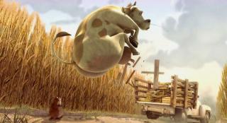 饥饿地鼠从车上偷吃的,意外收获一头奶牛,一部搞笑动画片