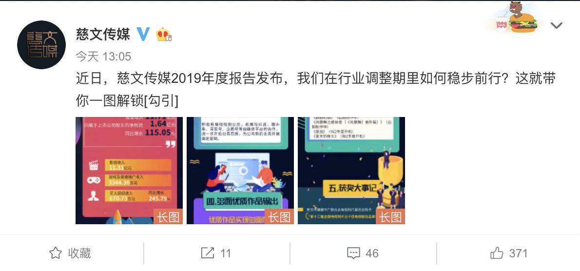 慈文传媒公布最新储备项目 朱一龙杨超越新剧