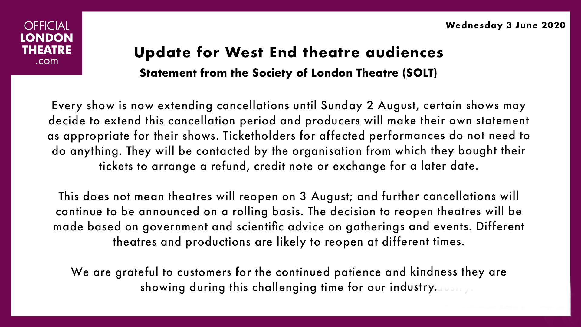联博统计:伦敦西区延至8月营业 《了不起的盖茨比》待重启