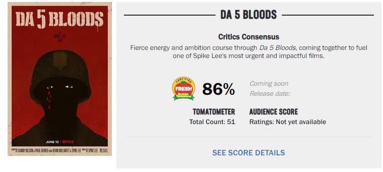 片子《誓血五人组》烂番茄开分 86%新鲜度获好评