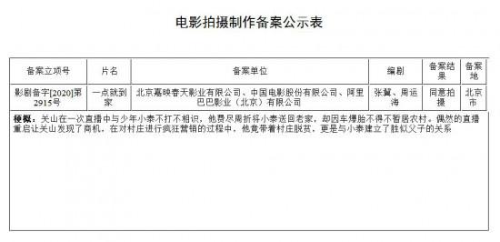 张冀编剧《一点就到家》立项 将于今年国庆档上映