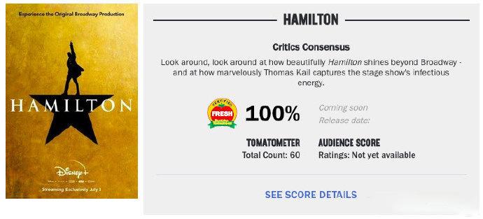 零差评!片子《汉密尔顿》上线4天收成逆天口碑