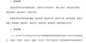 金鸡奖公布表演类参评标准 台词须由演员本人配音