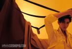 """8月11日,吴亦凡登封《时尚cosmo》金九封面大片发布,吴亦凡身穿蓝天白云套装,搭配前卫的""""小丑""""绿新发色,清新又气派。另一张封面照中,吴亦凡身穿深V开领衬衫搭配黑色西装外套,霸总范儿十足。"""