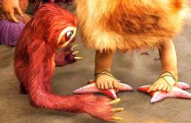 原始人没有鞋子,就用海星来替代,一部搞笑动画电影