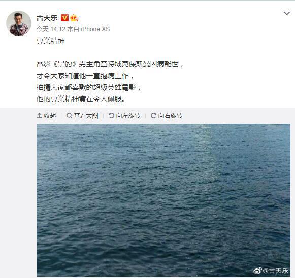 皇冠官网手机版:古天乐微博悼念《黑豹》男主:专业精神令人信服 第1张