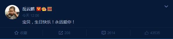 岳云鹏以凝练的语言为女儿庆祝生日:永远爱你