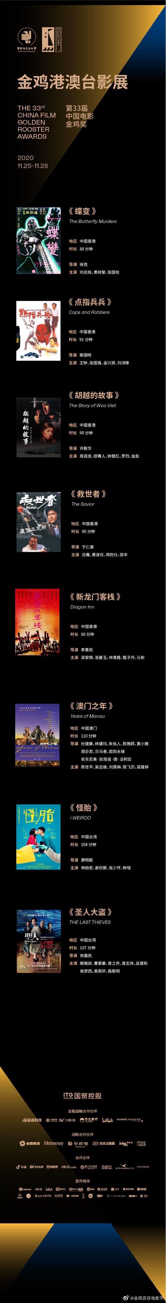 2020金鸡港澳台影展曝片单 修复版《蝶变》等将映