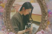 刘亦菲怀中抱狗狗眼神温柔 头发偏分露侧颜很迷人