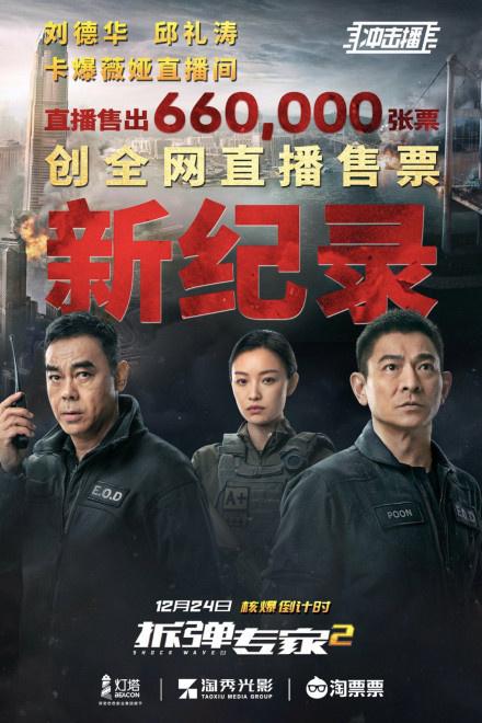 刘德华率先直播《拆弹专家2》创造了现场售票记录