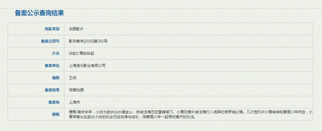 "usdt不用实名买卖(www.caibao.it):《白蛇:缘起》续集正式立项 讲述""青蛇劫起"""