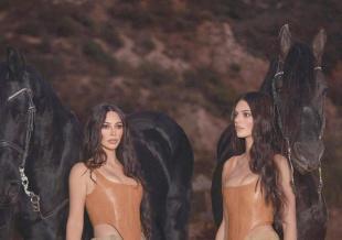 金·卡戴珊和五妹肯豆拍广告 工装造型秀傲人上围