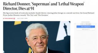 好萊塢傳奇導演理乍得·唐納去世 曾執導《超人》