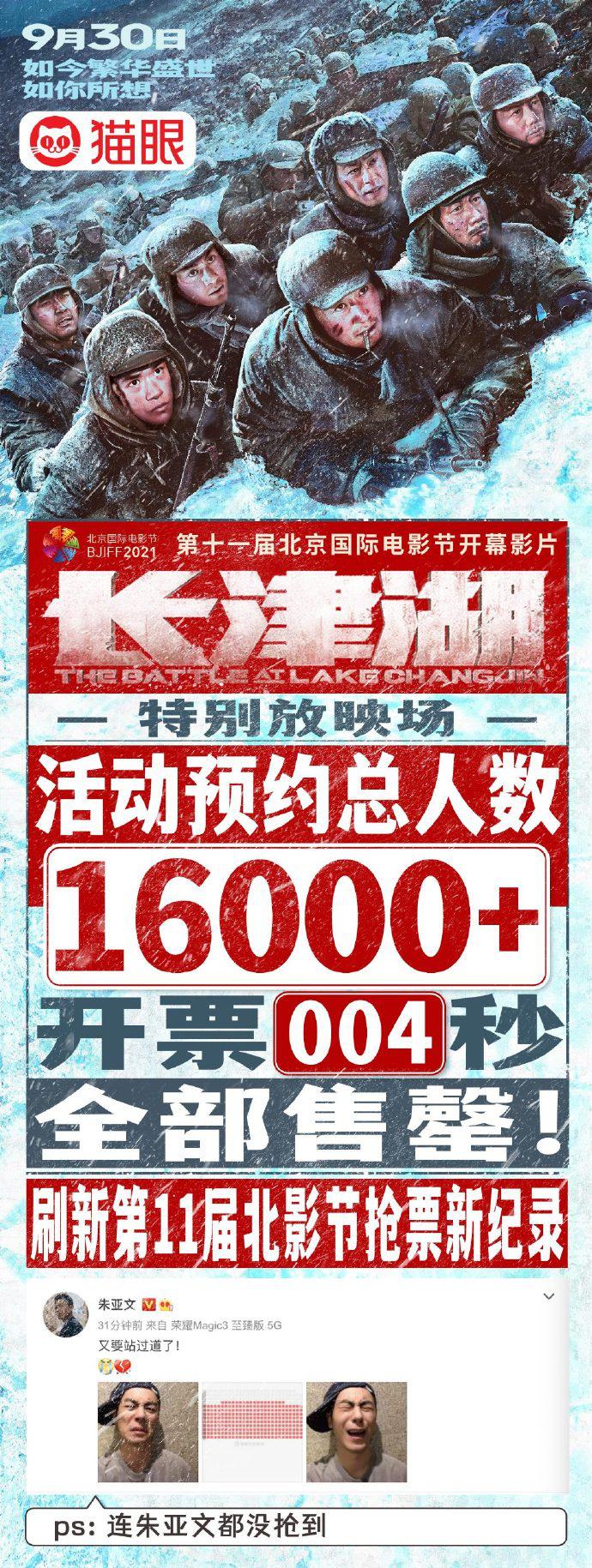 《長津湖》首場放映票秒沒 朱亞文:又要站過道了