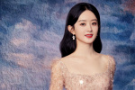 赵丽颖油画风写真端庄优雅 裸粉色长裙仙气十足
